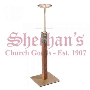 Fixed / Processional Paschal Candlestick in Antiqued Textured Finish