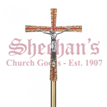 Enamelled Processional Crucifix With Aluminum Corpus
