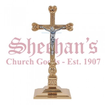Altar Cross With Cast High Relief Bronze