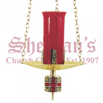 Hanging Sanctuary Lamp with Red Cross Node
