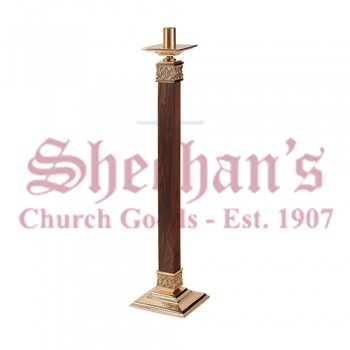 Fixed / Processional Paschal Candlestick with Wood and Bronze Finish