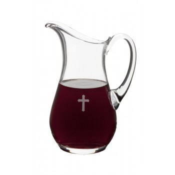 Glass Flagon with Etched Cross