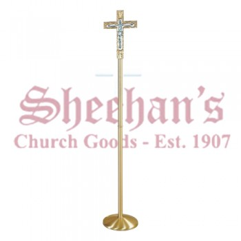 Highly Polished Processional Crucifix- With Removable Staff