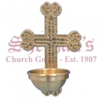 Holy Water Font with Ornamented Cross