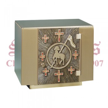 Bronze Tabernacle with Victory Lamb and Crosses Design