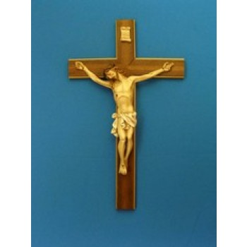 """Crucifix with Hand Painted Alabaster Corpus 20"""""""