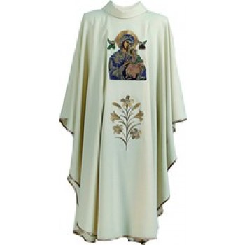Hand Painted Our Lady of Perpetual Help Chasuble by Hayes and Finch