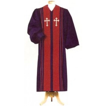 Black with Red Velveteen Panels Pulpit Robe
