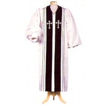 White Liberty Pulpit Robe with Black Velveteen Panels