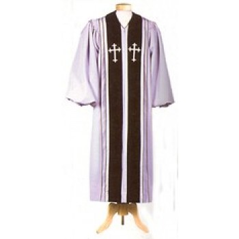 Gray Liberty Pulpit Robe with Black Velveteen Panels