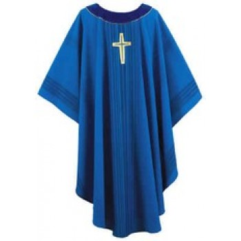 Blue Stripe Chasuble with Laudian Cross and Velvet Halo Collar