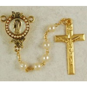 Gold Plate Lourdes Rosary