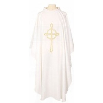 Chasuble With Embroidered Cross In Gold Metalic