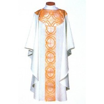 Concelebrant Chasuble with Gold and White Satin Brocade