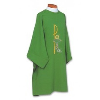 Dalmatic with Embroidered Gold Chi Rho and Chalice