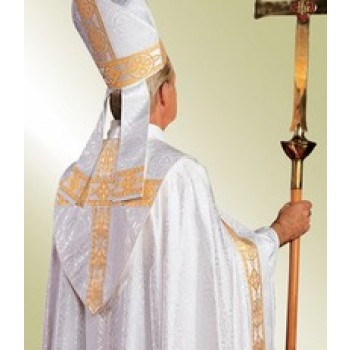 Cleric Cope in White Damascene