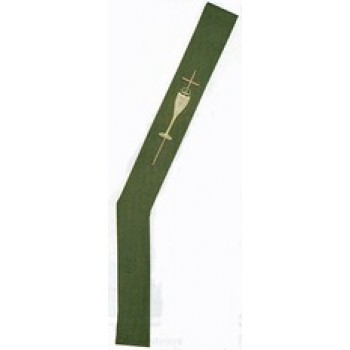 Green Tapestry Deacon Stole With Chalice and Cross