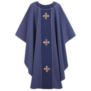Indigo Abbey Royale Yoke with Indigo Velvet Trim Chasuble