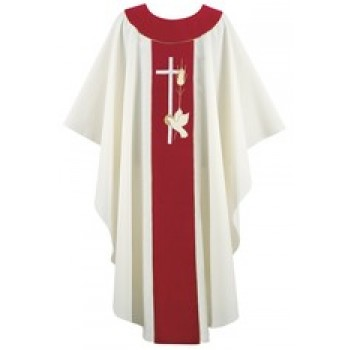 Cream and Red Chasuble with Holy Spirit Symbol