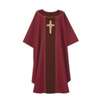Crimson Chasuble with Laudian Cross Design
