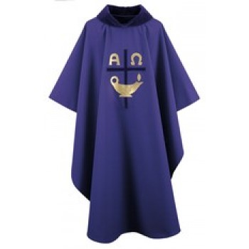 Indigo Chasuble with Velvet Cowl Gold and Velvet Applique