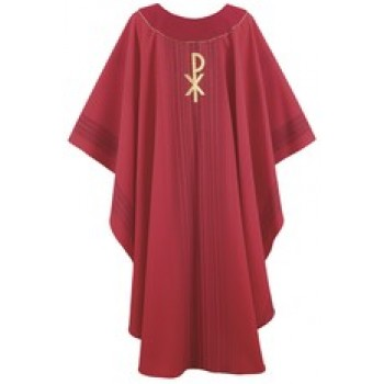 Red Stripe Chasuble with Chi-Rho Design