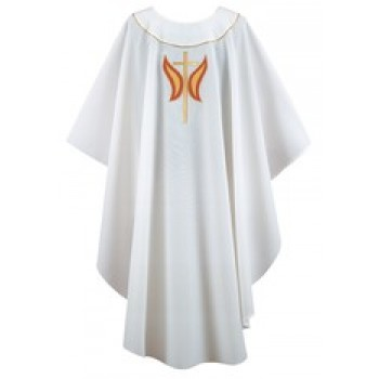 """White Chasuble with """"Butter Flame"""" Design"""