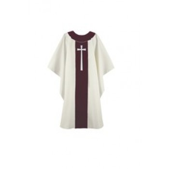 Gold and Wine Chasuble with Gold Latin Cross
