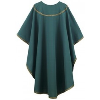 Hunter Chasuble with Hunter and Gold Galloon Trim