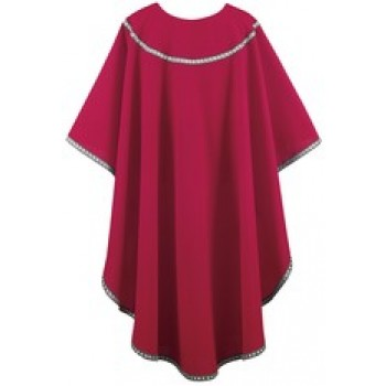 Crimson Chasuble with Silver and Black Galloon Trim