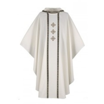 Cream Chasuble with Galloon Trim and Three Gold Crosses