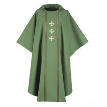 Chasuble with Galloon Trim and Three Gold Crosses