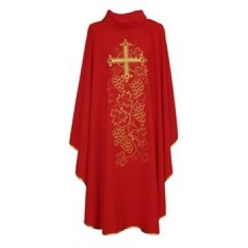 Gold Threaded Embroidered Cross and Grapes Chasuble