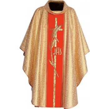 Gold Vestment with Cross and Wheat Design