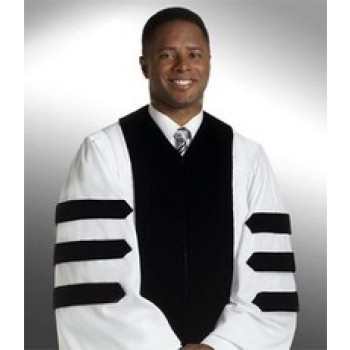 White Geneva Robe with Doctoral Bars