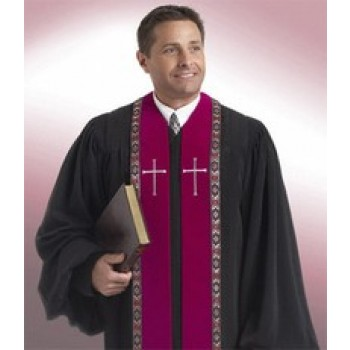 Black Robe with Garnet Velvet Panels and Trim