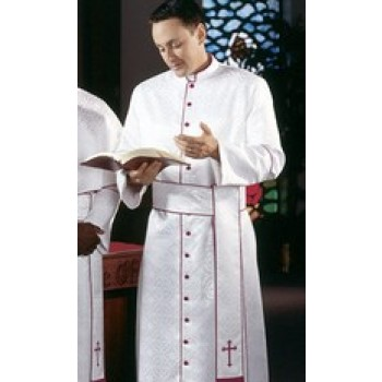 White Damascene Cassock with Scarlet Piping