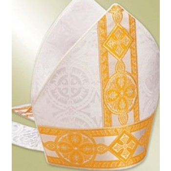 White Mitre with Gold Brocade Banding