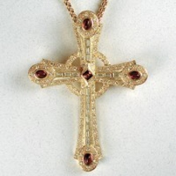 Cast Celtic Cross with Glass Stones and Ruby