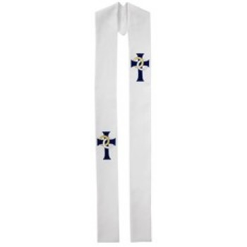 Clergy Stole with Wedding Symbol and Blue Cross