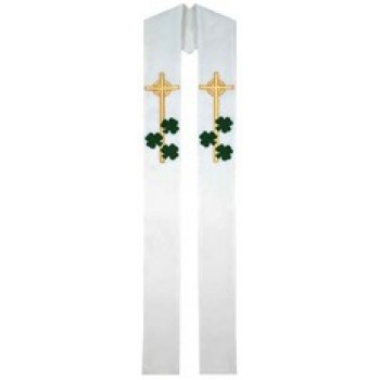 White with Green Shamrock Stole