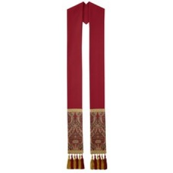 Crimson Overlay Stole with Red and Gold Roncalli