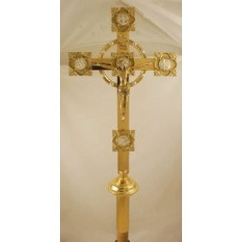 "Processional Detailed Brass Cross with 6"" Crucifix"