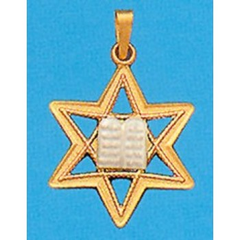 Star of David with the Ten Commandments in 14K Gold