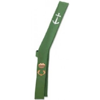 Cross, Anchor, Fish and Loaves on Green Deacon Stole