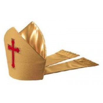 Gold Mitre with Red Chapel Cross