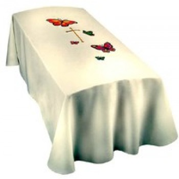 White With Butterflies Child Size Funeral Pall
