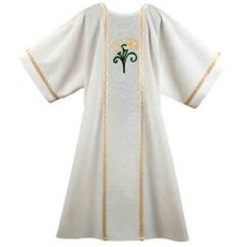 Lily with Galloon on White Dalmatic
