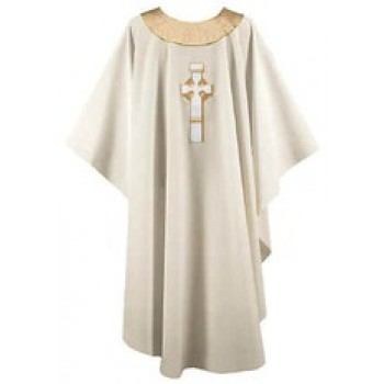 Cream Chasuble with Gold Celtic Cross