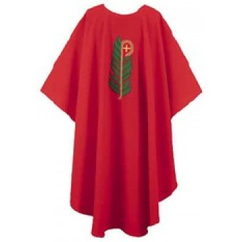 Red Chasuble with Palm and Staff Symbols